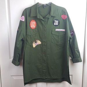 Kendall & Kylie Womens 3/4 Sleeve Shirt Military S